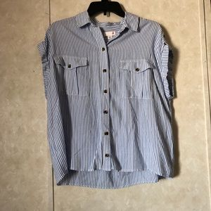 Vertical stripped blue and white button shirt